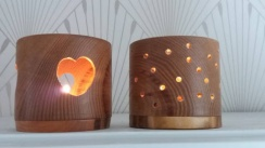 Two Tea Light Holders made from Oak and Cherry